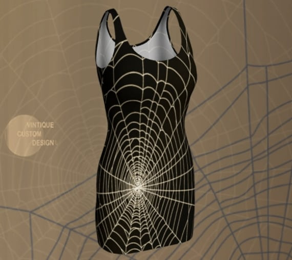 Spiderweb Dress Gothic Halloween DRESSES Fit & Flare or Bodycon Designer Dress Womens Dresses Trick or Treat Halloween Party Dress Womens