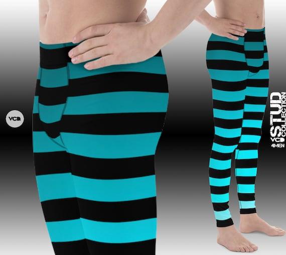 MENS OMBRE LEGGINGS Striped Leggings for Men Blue Ombre with Black Striped Mens Yoga Leggings Mens Yoga Pants Workout Pants for Men Meggings