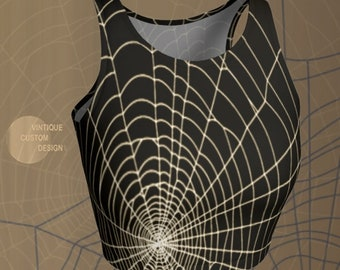 Spiderweb CROP TOP HALLOWEEN Womens Crop Top Soul Cycle Yoga Top Womens Work Out Top Cycling Clothing Cycle Top Spinning Top Yoga Top