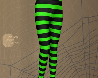 Girls WITCH HALLOWEEN LEGGINGS For Girls Toddlers and Baby Leggings Green and Black Stripes Halloween Costume for Kids Hocus Pocus Leggings