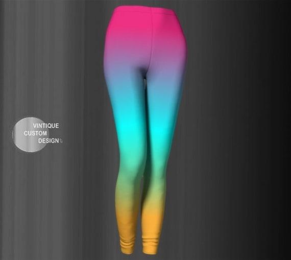 Fairy Kei RAINBOW LEGGINGS Neon Leggings Colorful Art Leggings for Women Yoga Leggings for WOMEN Festival Leggings Rave Leggings Yoga Pants