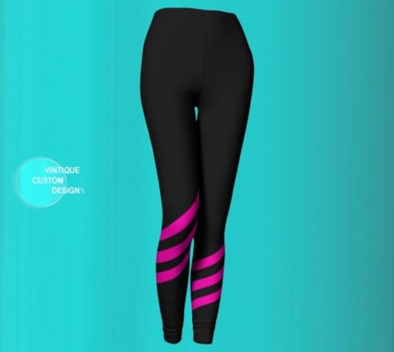 Breast Cancer LEGGINGS Pink Ribbon Leggings WOMENS Yoga Leggings Yoga Pants BCAM Pink Ribbon Capri Leggings Grey Pink Survivor Gift Support