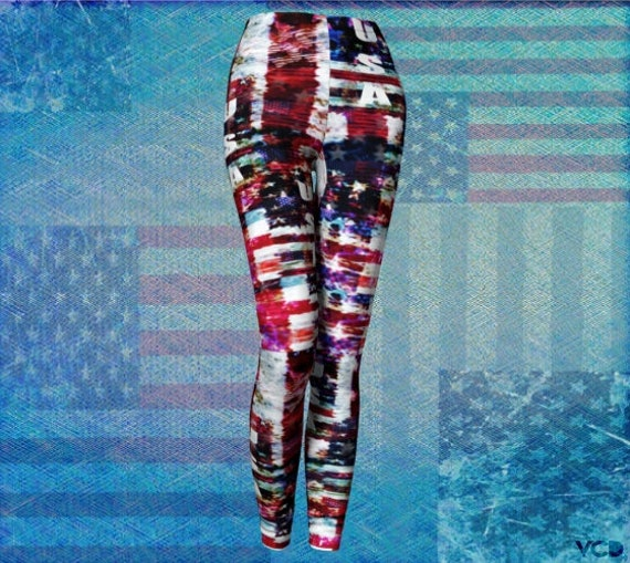 Patriotic YOGA LEGGINGS Womens American Flag Leggings Red White and Blue Stars and Stripes USA Leggings Women's 4th of July Womens Leggings