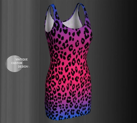 CHEETAH PRINT DRESS Women's Animal Print Cheetah Dress Sexy Mini Dress Body-con Dress Flare Dress Festival Clothing Club Dress Rave Dress