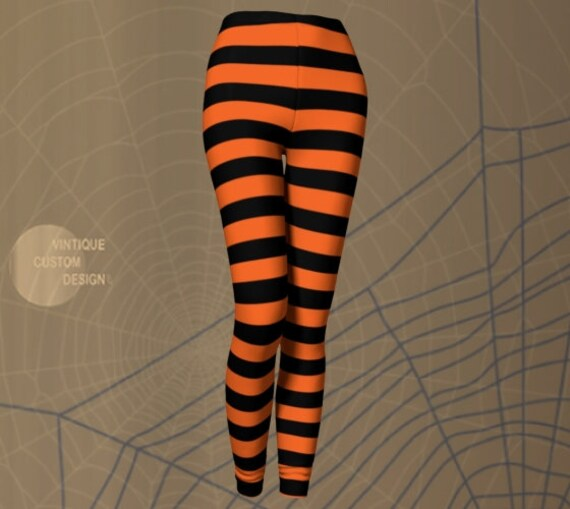 Orange and Black Witch LEGGINGS Halloween Leggings WOMENS Witch Stockings Costume Tights Striped Leggings Printed Leggings Costume for Her