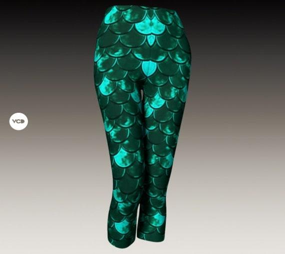 MERMAID LEGGINGS WOMENS Capri Pants Yoga Capri Leggings Yoga Pants Mermaid Scale Fish Scale Leggings for Women Designer Leggings Women's
