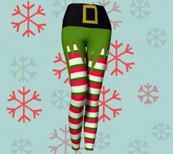 ELF LEGGINGS WOMENS Christmas Holiday Stockings Yoga Pants Green Red and White Striped Leggings Cosplay Elven Elf Costume Leggings Womens