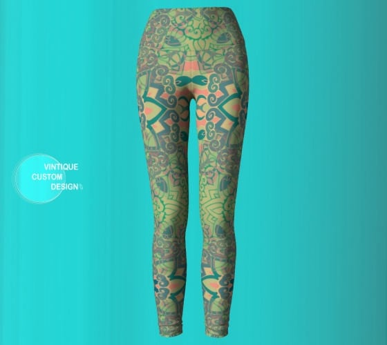 6c37902458d68 SPRING LEGGINGS Mandala Leggings Sacred Geometry Green Floral Lotus Flower  Womens Leggings YOGA Pants Yoga Leggings Festival Yoga Leggings