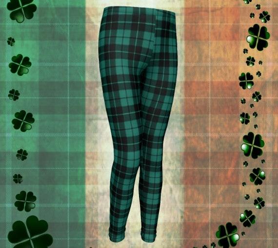 St. Patricks Day Leggings Green Tartan Plaid LEGGINGS Green Plaid Leggings Kids Youth Leggings Baby Leggings Toddler Leggings Plaid Pants