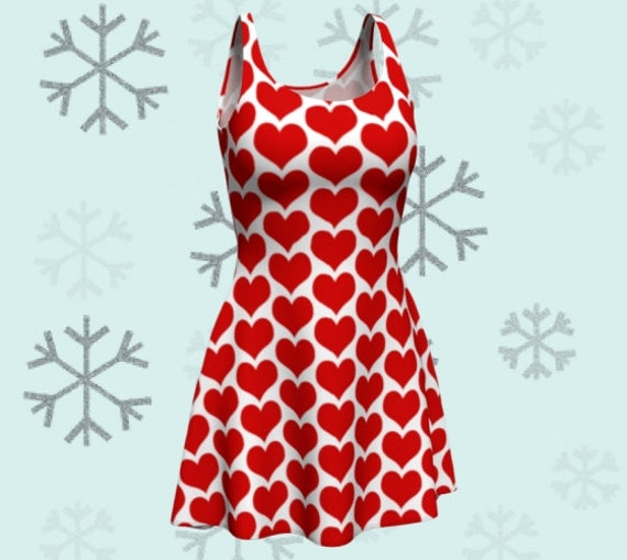 RED and White Heart Print Dress WOMENS Party Dress in Bodycon and Fit and Flare Styles Red and White USA Patriotic Fourth of July Clothing