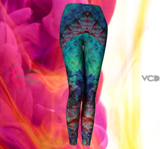 WOMENS RAVE LEGGINGS Sexy Print Leggings Yoga Leggings Sexy Burning Man Womens Leggings Yoga Pants Hippie Yoga Leggings Tribal Tights Women