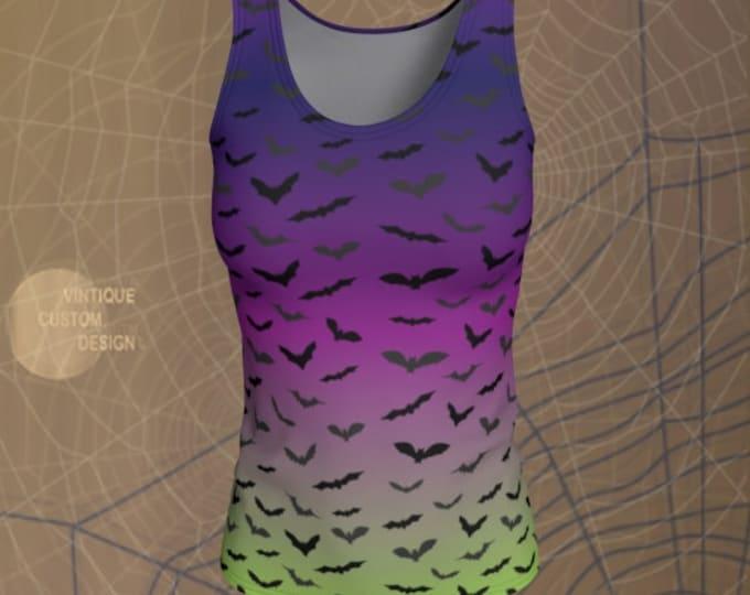 HALLOWEEN BAT TANK Top Purple & Green Ombre Print Tank Top Shirt Womens Tank Top Yoga Top Work Out Top Womens Halloween Bat Print Tank Top