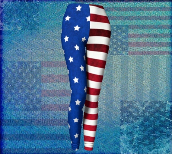 American Flag LEGGINGS USA Leggings Womens Yoga Pants Yoga Leggings Red White and Blue Fourth of July Independence Day Stars and Stripes