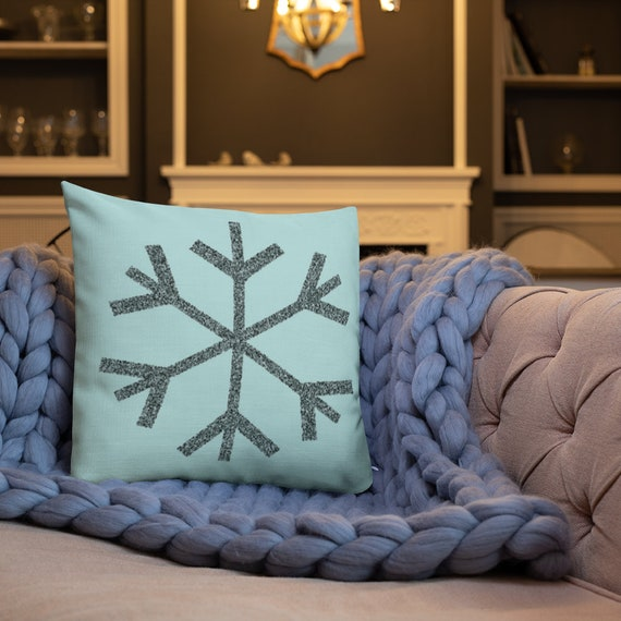 Holiday Decorative THROW PILLOW Snowflake Winter Holiday Pillow Seasonal Home Decor Christmas Pillow Christmas Home Decor Insert Included