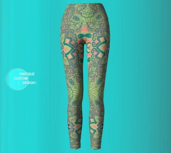Man Print Leggings Leggings Sexy LEGGINGS Mandala Leggings Green Sacred Burning Festival Geometry Leggings Womens Leggings PANTS Sexy YOGA qPRwxzItz