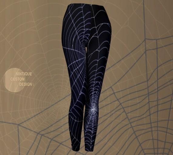 COBWEB LEGGINGS Spiderweb Womens Yoga Pants Spider Web Goth Leggings Cosplay Halloween Costume Spooky Gothic Clothing Blue and White Legging