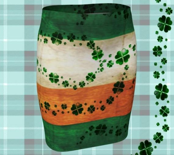 MINI SKIRT St Patricks Day Skirt WOMENS Clothing Irish Flag Irish Pride Fashion Skirt St Pattys Day Green and Orange Shamrock Clover Skirt