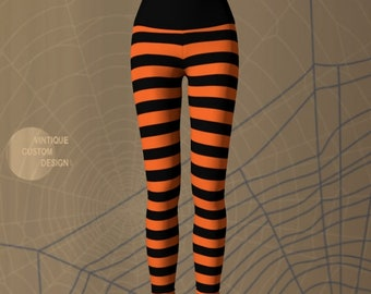 STRIPED YOGA PANTS Halloween Leggings Women's Striped Yoga Leggings Halloween Costume Leggings Orange and Black Leggings Women's Cosplay
