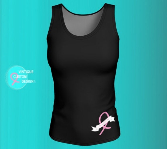 BCAM TANK TOP Womens Breast Cancer Awareness Pink Ribbon Shirt Black & Pink Breast Cancer Ribbon Survivor Top Work Out Clothing Running Top