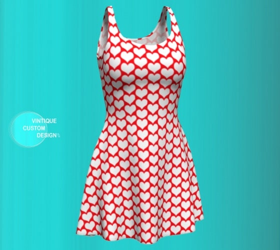 Womens Red And White Dress Womens Valentines Day Party Dress Fit Flare Or Body Con Styles Heart Print Dress Designer Fashion Print Dress,Simple Living Room Designs Indian Style