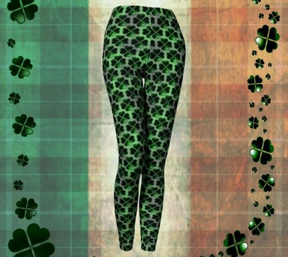 CLOVER LEGGINGS Womens Four Leaf Clover SHAMROCK Yoga Leggings Green and White Clover Printed Leggings Yoga Pants for Women St Patricks Day