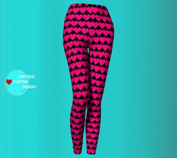 Hot Pink HEARTS VALENTINES Day LEGGINGS for Women Black and Pink Heart Printed Leggings Womens Yoga Pants Heart Leggings Yoga Leggings