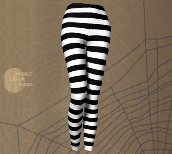 Halloween Leggings Jail Leggings Women's Prisoner Inmate LEGGINGS Halloween Costume Leggings Black White Striped Leggings Cosplay Leggings