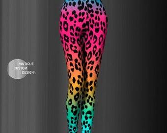 Cheetah LEGGINGS Rainbow Leggings Animal Print Yoga Leggings WOMENS Leggings YOGA Pants for Women Rave Clothing Work Out Fitness Leggings
