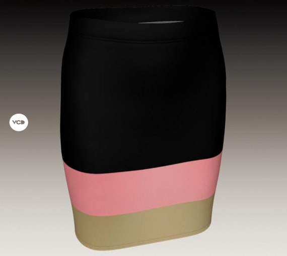 Womens Skirt Designer Fashion Print Skirt Pencil Skirt Fitted Mini Skirt Black Gold and Pink Stylish Sexy High Waisted Skirt for Women