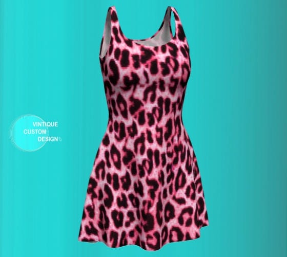 Pink Cheetah DRESS for WOMENS Sexy Dress Skater Dress Flare Dress Animal  PRINT Dress Womens Clothing Womens Designer Dress Sexy Mini Dress 3deb92bb7