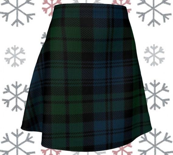 Green Tartan Plaid SKIRT Womens High Waisted Skirt TARTAN PLAID Mini Skirt Tartan Skirt Tartan Skirt 50s St Patricks Day Sexy Womens Skirt
