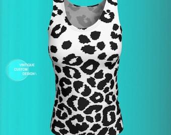 Snow Leopard Tank Top Cheetah TANK TOP Animal Print Tank Top WOMENS Top Shirt Work-out Clothing Yoga Top Tank Top Gym Top Cycling Clothing