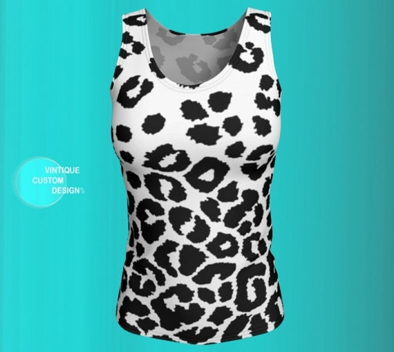 Snow Leopard Tank Top Cheetah TANK TOP Animal Print Tank Top WOMENS Top Shirt Work-out Clothing Yoga Top Tank Top Gym Top Cycling Clothing