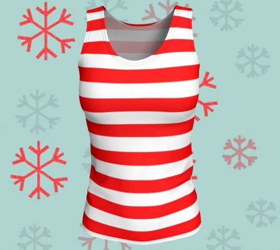 CHRISTMAS TANK TOP Candy Cane Top Women's Tank Top Red and White Striped Tank Top Workout Top Christmas Outfit Christmas Gift for Her