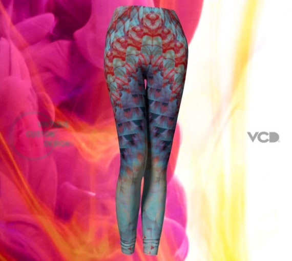 Psychedelic Fractal LEGGINGS Tie Dyed Leggings Sexy Print Leggings YOGA PANTS Festival Leggings Womens Rave Leggings Rainbow Art Leggings