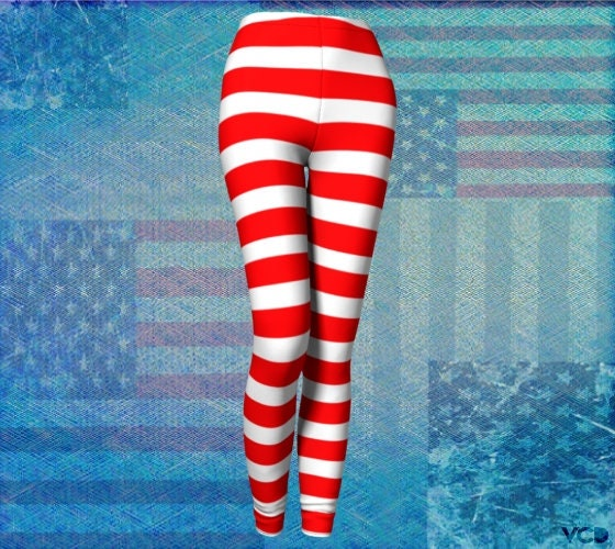 caa7d02e99 Patriotic Striped LEGGINGS Red and White Striped Leggings for Women ...