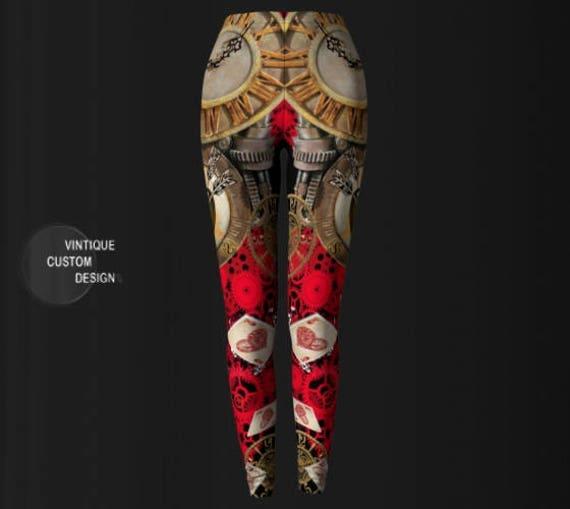Cyberpunk Clothing Leggings Yoga Post Punk WOMENS PUNK Futuristic Cosplay Pants Leggings Apocalyptic Leggings Punk Clothing Clothing STEAM w6YtPq7X