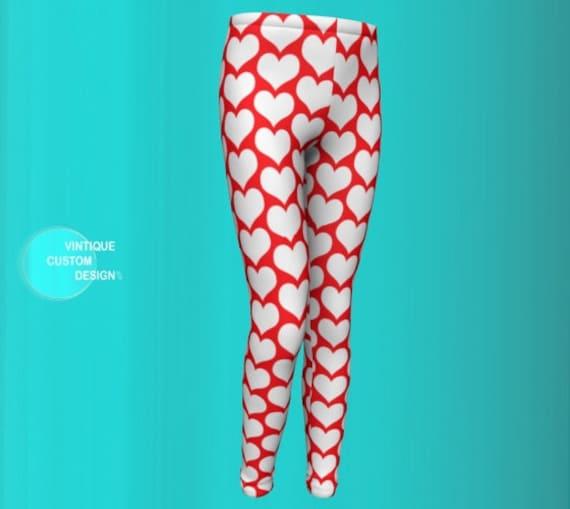 Red White Heart Print Leggings for Kids Girls Baby Leggings Valentine's Day Leggings Toddler Leggings Youth Leggings Red and White Leggings