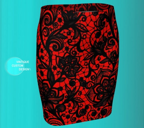 SEXY MINI SKIRT Red and Black Lace Print Mini Skirt Womens Clothing Designer Fashion Skirt for Women Sexy Fitted Skirt Short Tight Skirt