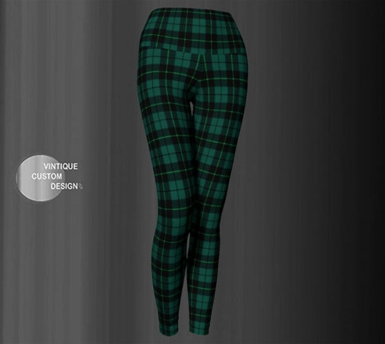 349ae55c1b9 Green TARTAN PLAID LEGGINGS Womens Yoga Leggings Yoga Pants