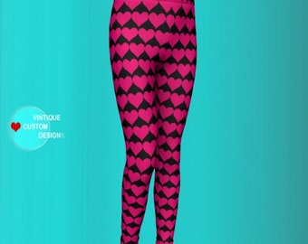 HEART Tights For GIRLS Pink and Black BABY Leggings Girls Kids Clothing Heart Pants for Girls Pants Girls Youth Leggings Outfit for Kids