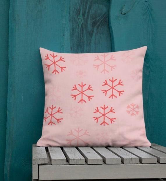 Christmas Home Decor Seasonal Festive HOLIDAY Decorative THROW PILLOW Snowflake Winter Decor Holiday Home Decor Pillow Red 18 x 18 Square