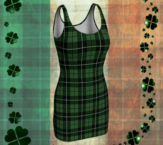 St Patricks Day Dress Green TARTAN PLAID Dress Womens Sexy Mini Dress for Women Plaid Bodycon Dress Flare Dress Skater Dress Plaid Dresses