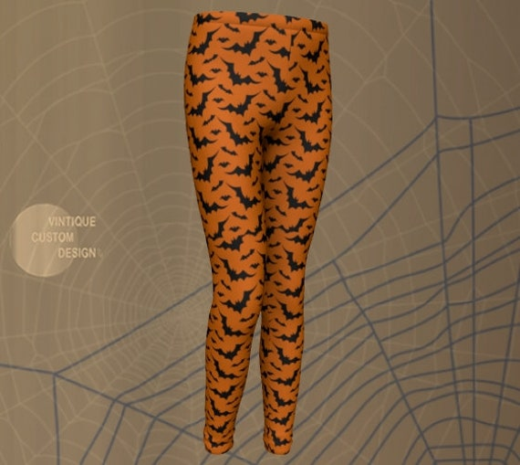 Orange and Black HALLOWEEN Leggings for Kids Fall Leggings Mommy and Me Bat Leggings Halloween Costumes Baby Leggings Toddler Leggings