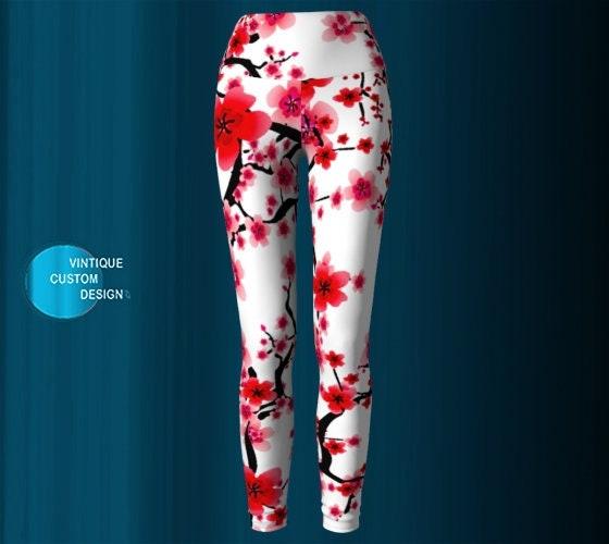 0118316ce1293 Cherry Blossom YOGA LEGGINGS WOMENS Yoga Pants Printed Leggings Spring  Leggings Easter Leggings Gift for Mom Flower Leggings Red and White