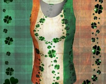 CLOVER Shamrock Irish Flag Shirt PADDYS DAY Tank Top Crossfit Tank Top for Womens Tank Top Womens Yoga Top St Patties Day Tank Top Shirt