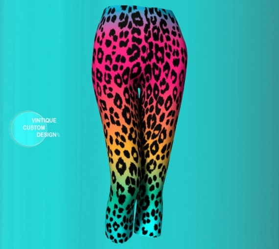 CHEETAH LEGGINGS WOMENS Cheetah Print Leopard Capri Pants Yoga Capri Leggings Yoga Pants for Women Designer Leggings Women's Capri Leggings