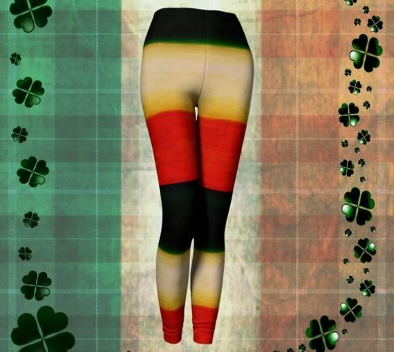 ST. PATRICK'S DAY Leggings for Women Yoga Pants Yoga Leggings Irish Flag Leggings Printed Leggings Orange Green & White Paddy's Day Leggings