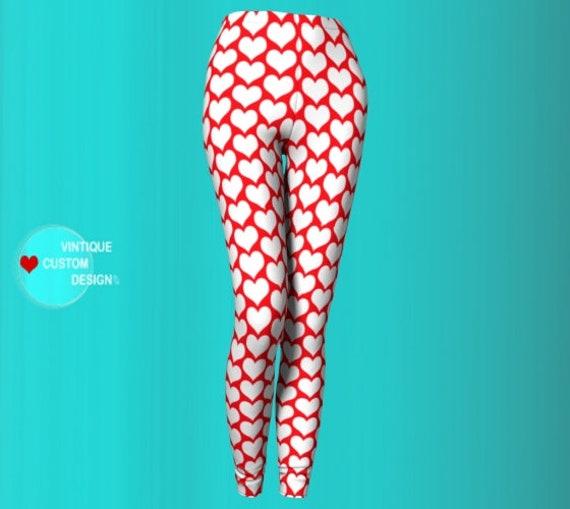 VALENTINES DAY HEART Leggings Women's Yoga Leggings Red and White Heart Print Yoga Leggings Sexy Print Leggings Yoga Pants Yoga Leggings