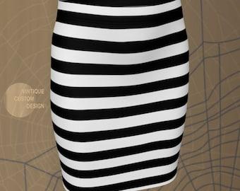 Black and White Striped SKIRT HALLOWEEN Skirt Womens Skirt Fitted Skirt or Flare Skirt Inmate Costume Skirt Jail Costume Skirt Prisoner